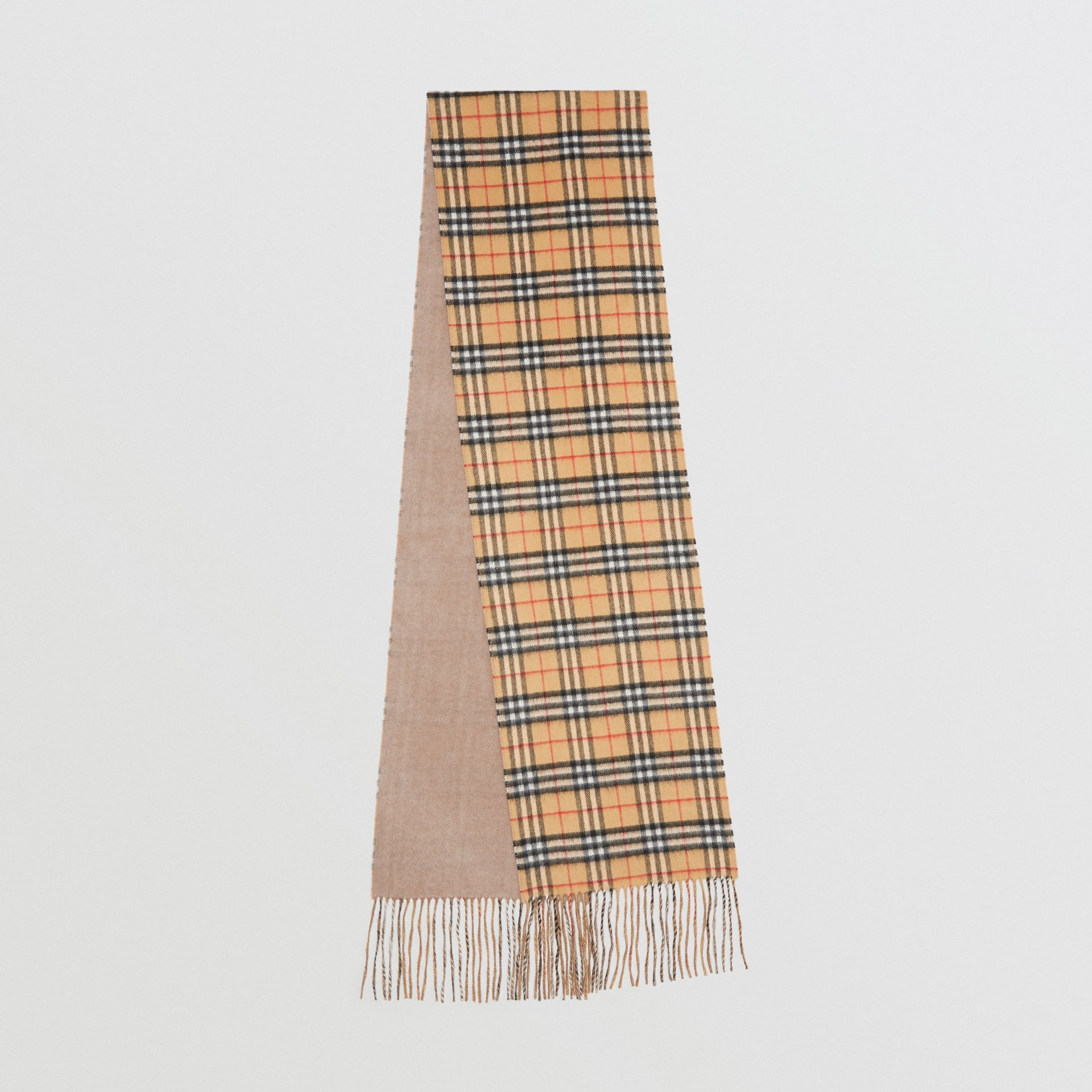 Long Reversible Vintage Check Double-faced Cashmere Scarf in Sandstone | Burberry United Kingdom - gallery image 0