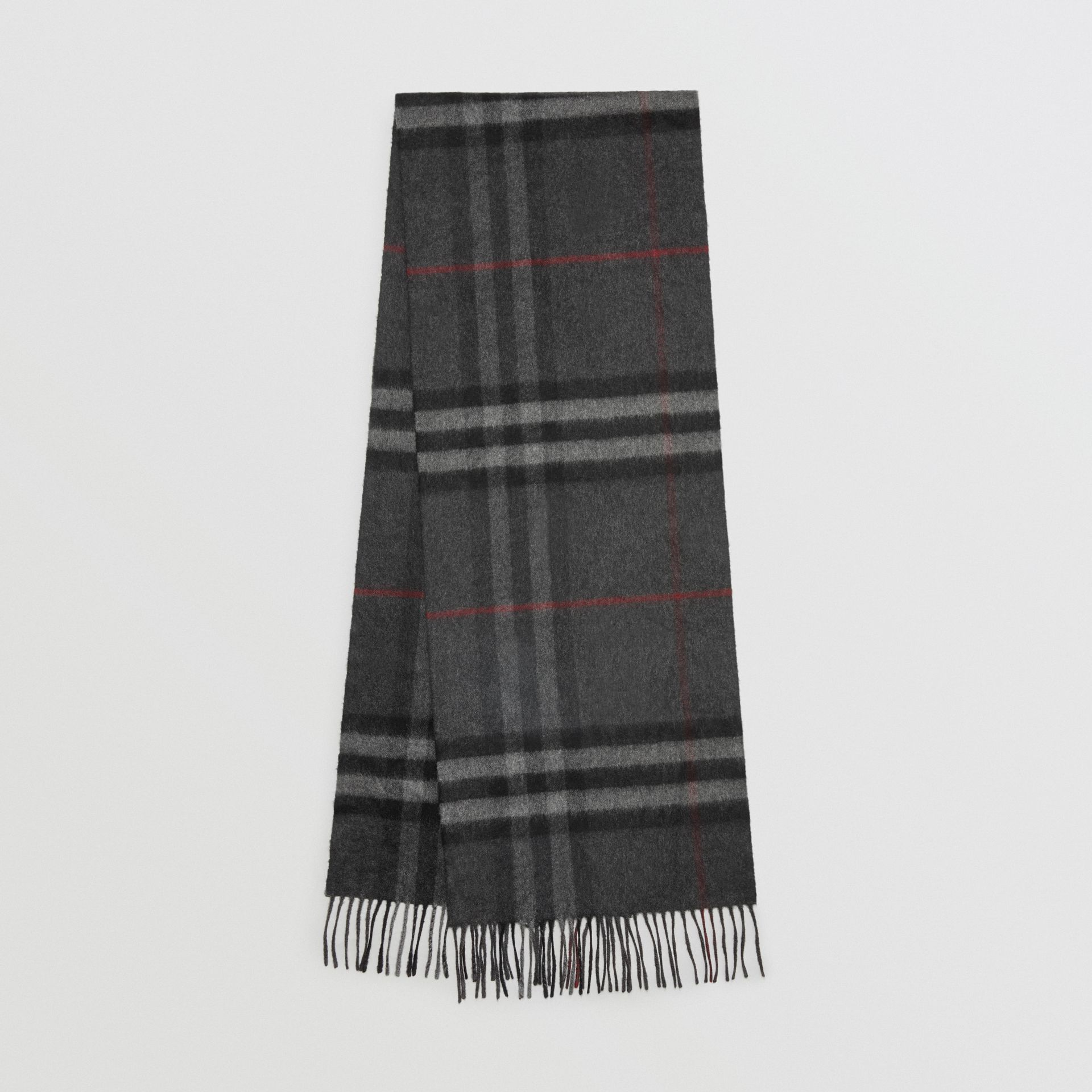 The Classic Check Cashmere Scarf in Charcoal | Burberry Canada - gallery image 0