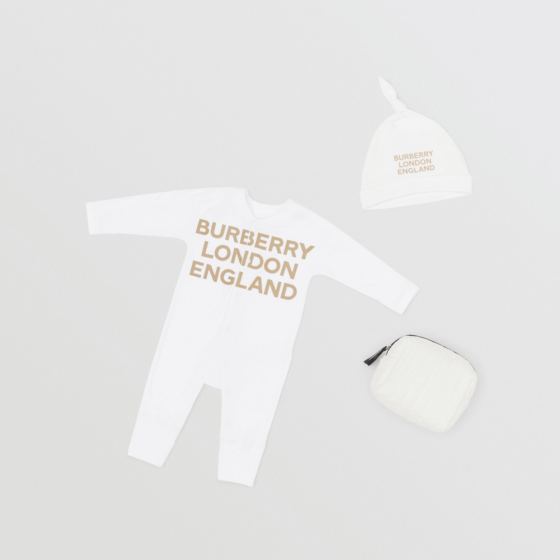 Logo Print Organic Cotton Two-piece Baby Gift Set in White - Children | Burberry United Kingdom - gallery image 0