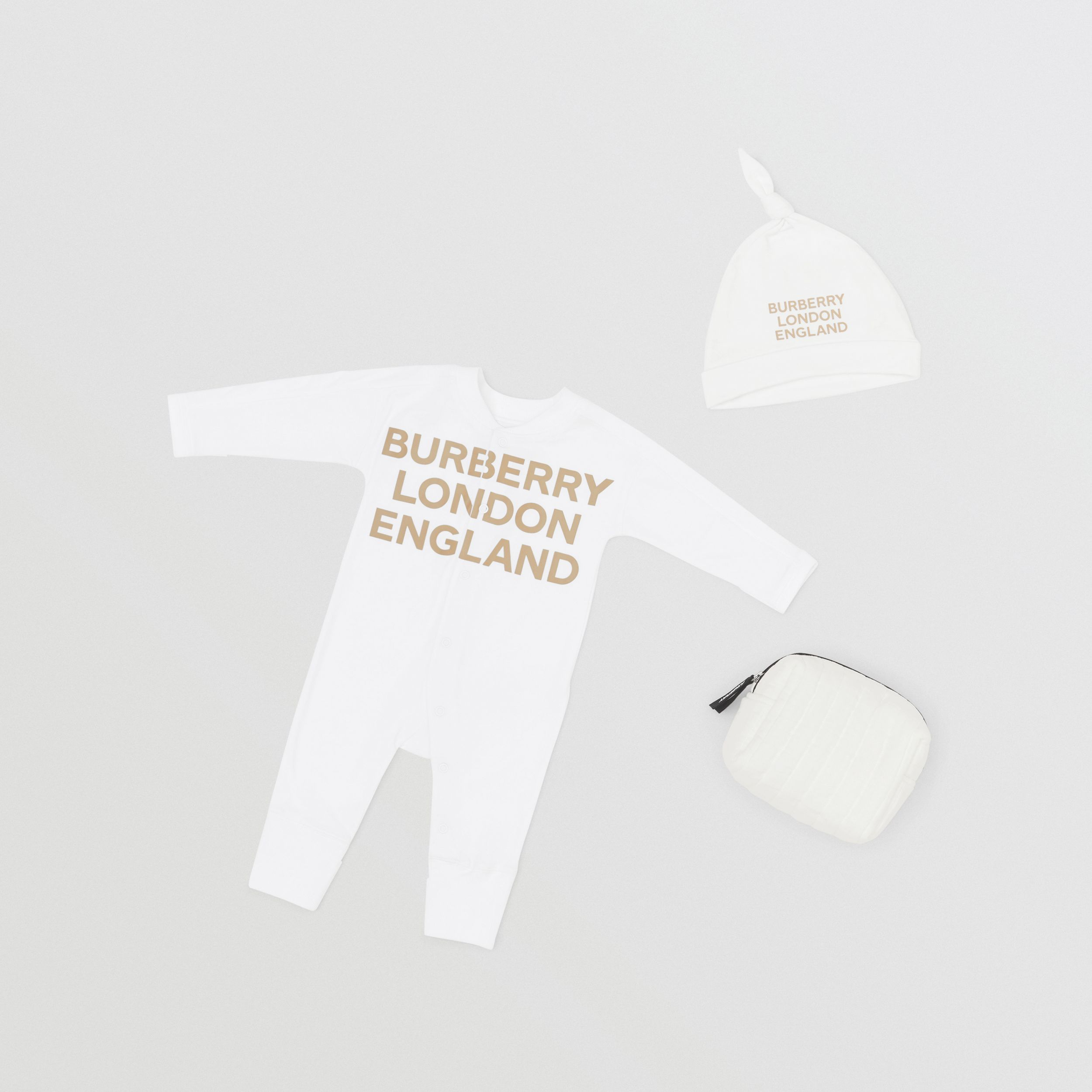 Logo Print Organic Cotton Two-piece Baby Gift Set in White - Children | Burberry - 1