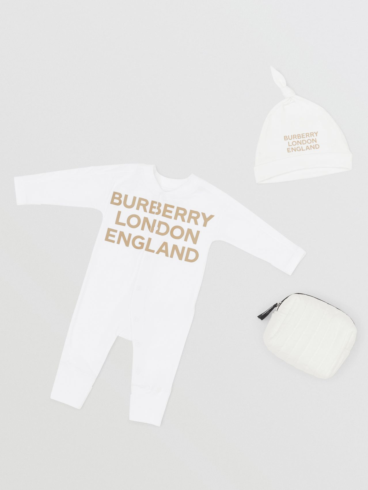 Logo Print Cotton Two-piece Baby Gift Set in White
