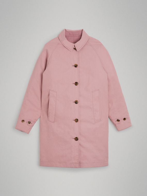 Reversible Tropical Gabardine Car Coat in Chalk Pink
