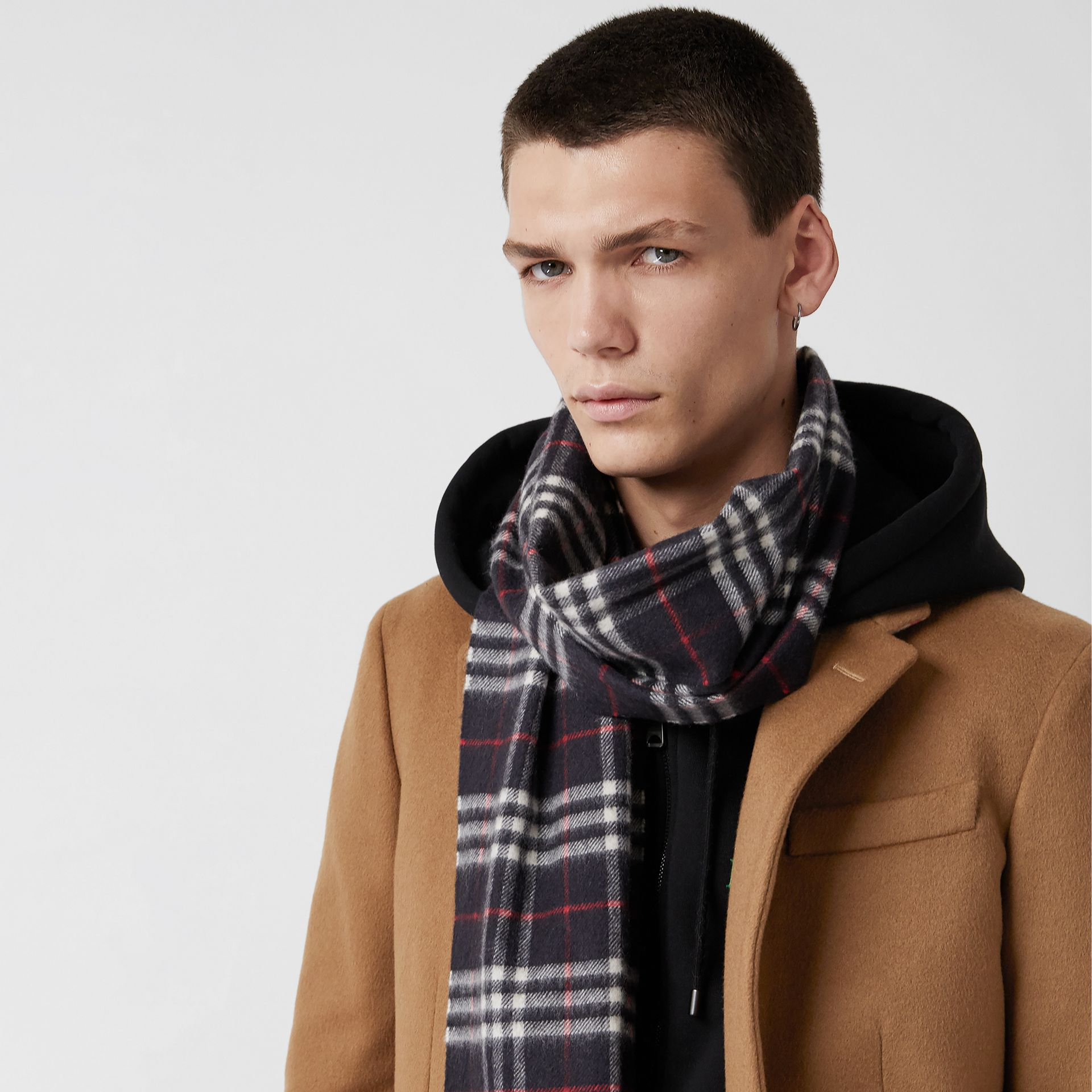 Check Cashmere Scarf in Navy | Burberry Canada - gallery image 5