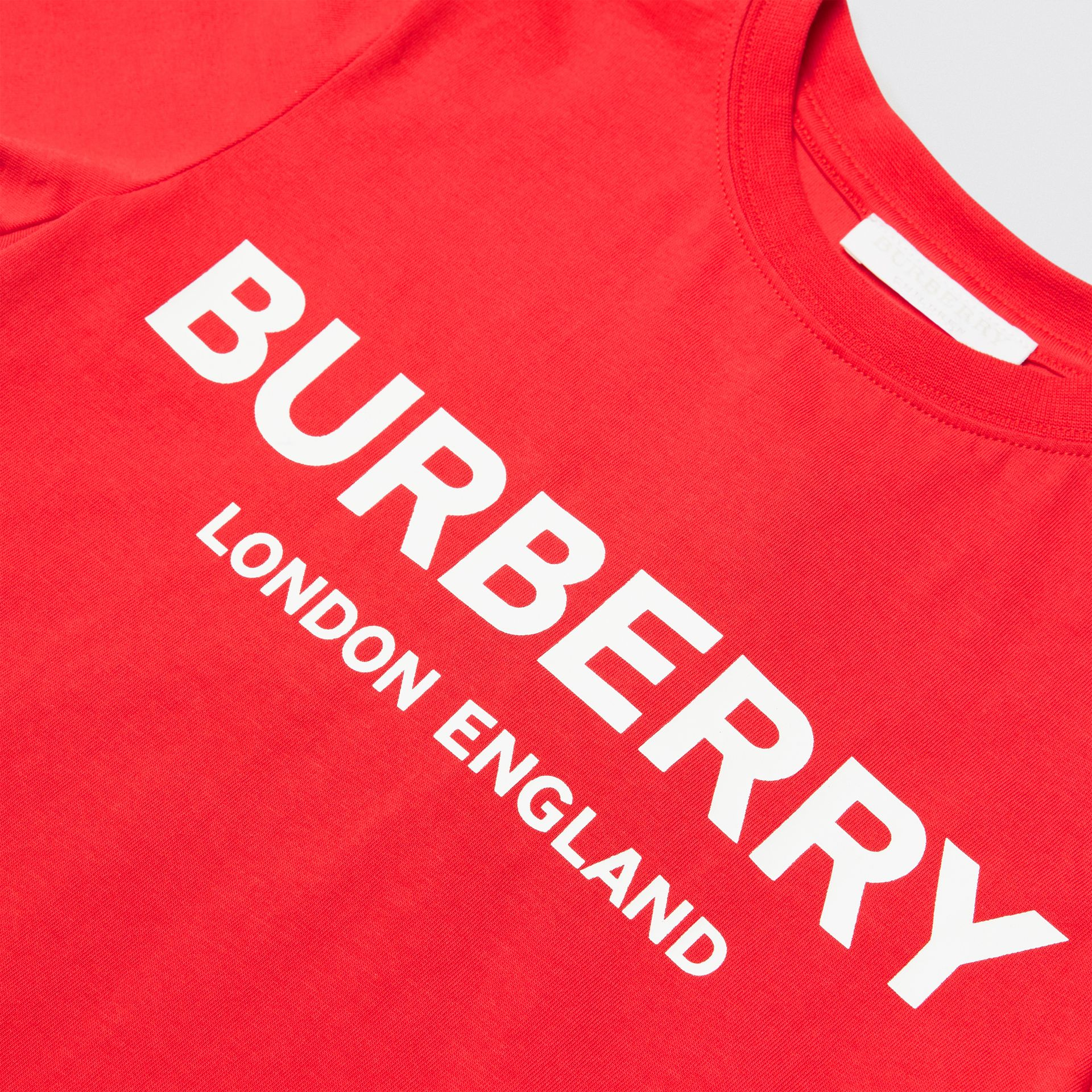 Logo Print Cotton T-shirt in Bright Red | Burberry - gallery image 1