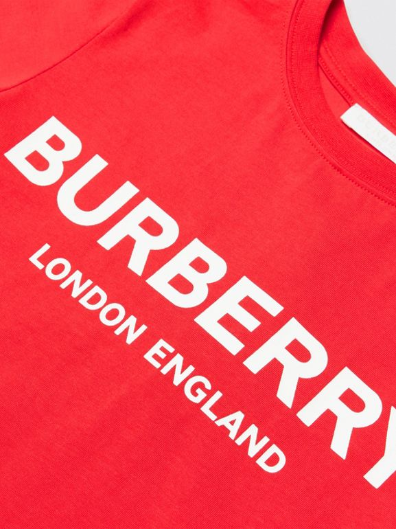Logo Print Cotton T-shirt in Bright Red | Burberry - cell image 1