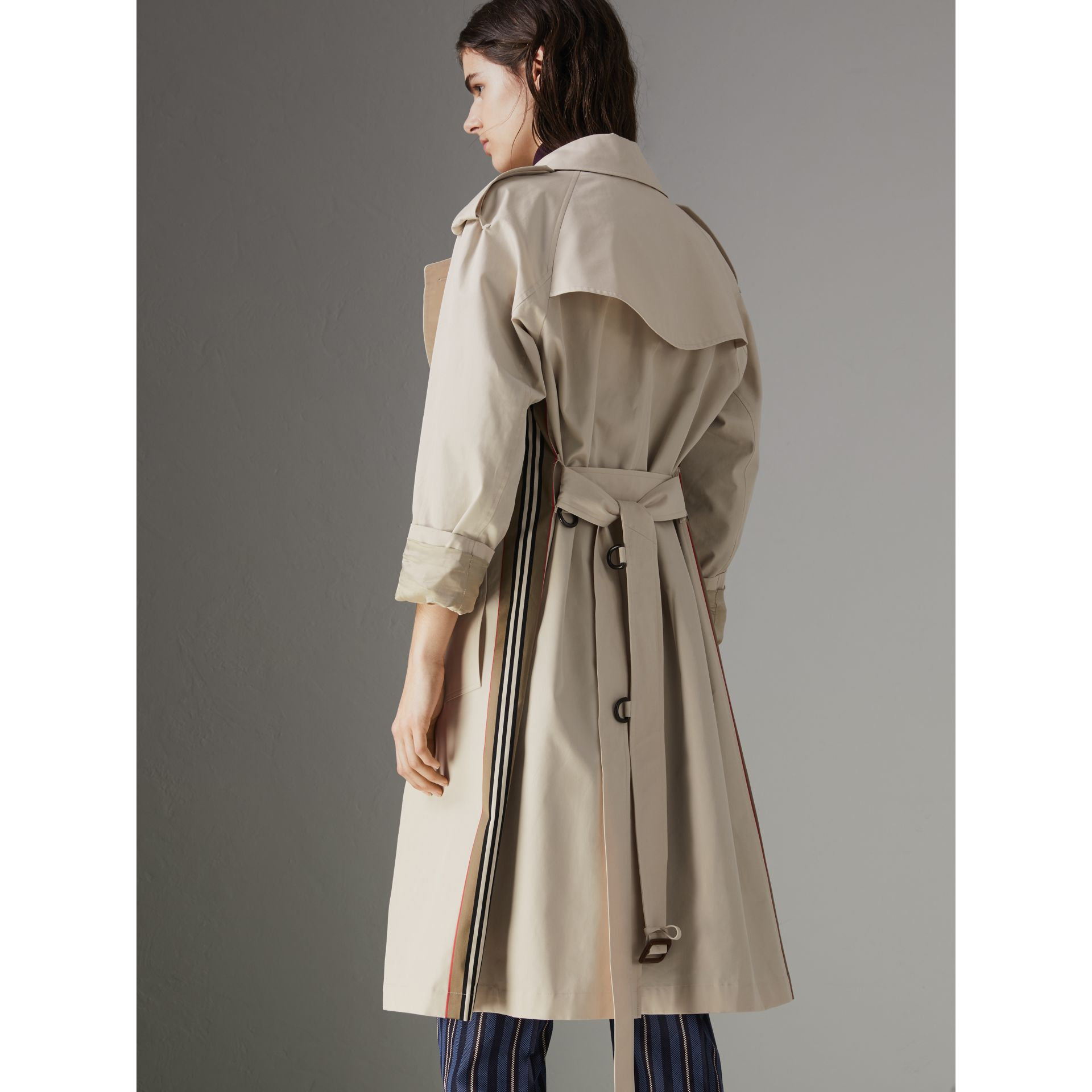 Heritage Stripe Cotton Gabardine Trench Coat in Stone - Women | Burberry - gallery image 2