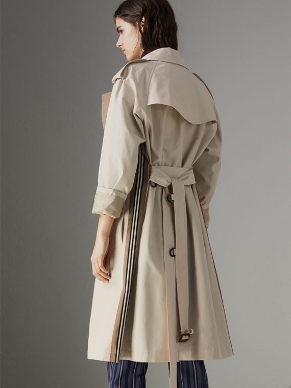 Heritage Stripe Cotton Gabardine Trench Coat in Stone - Women | Burberry - cell image 2