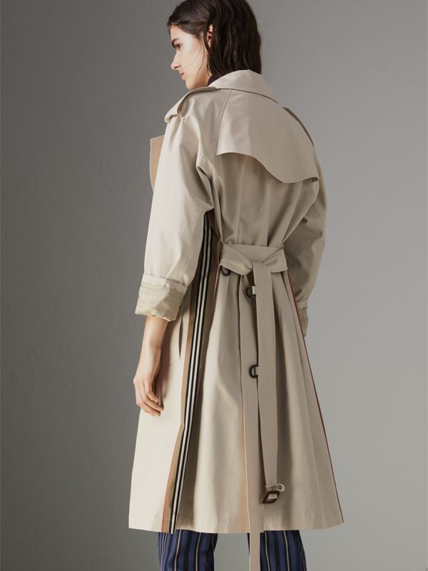 Striped Ribbon Cotton Gabardine Trench Coat in Stone - Women | Burberry - cell image 2