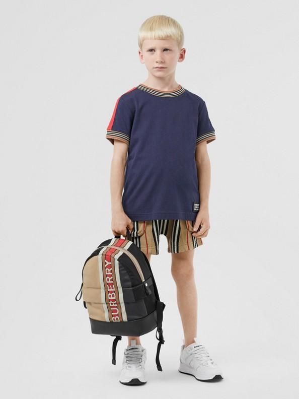 Baumwoll-T-Shirt mit Streifendetails (Marineblau)
