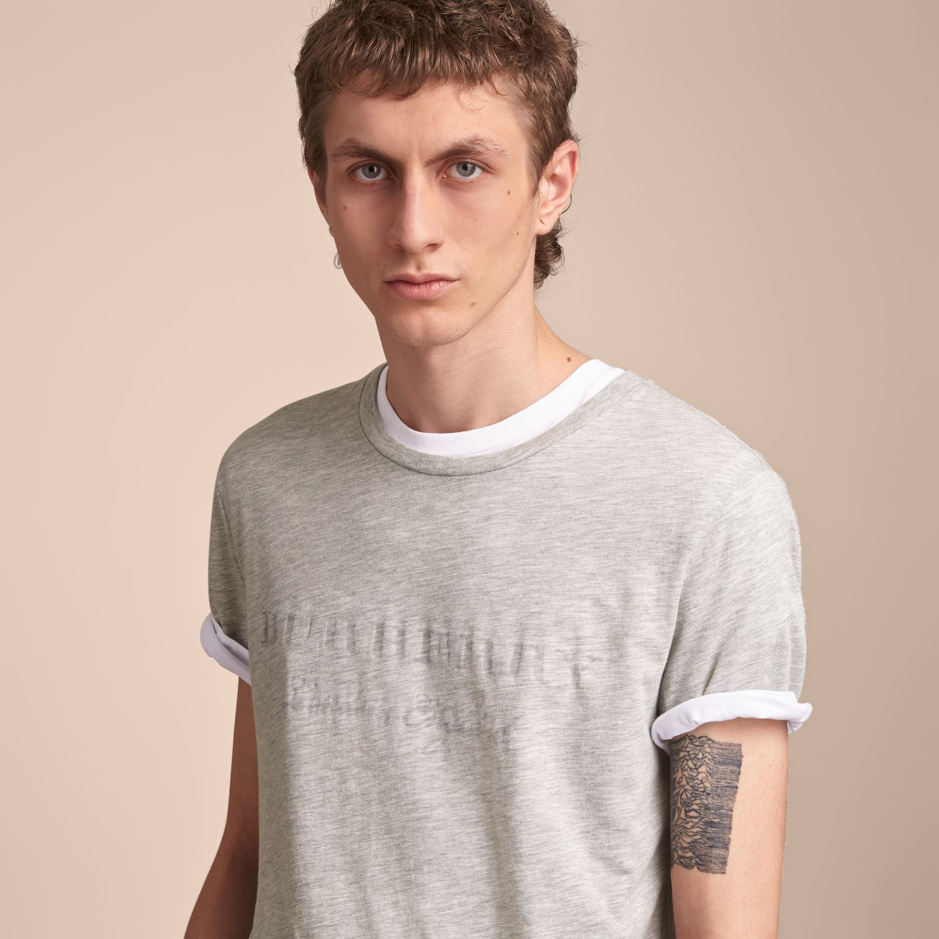 Contrast Motif Cotton Blend T-shirt Pale Grey Melange - gallery image 5
