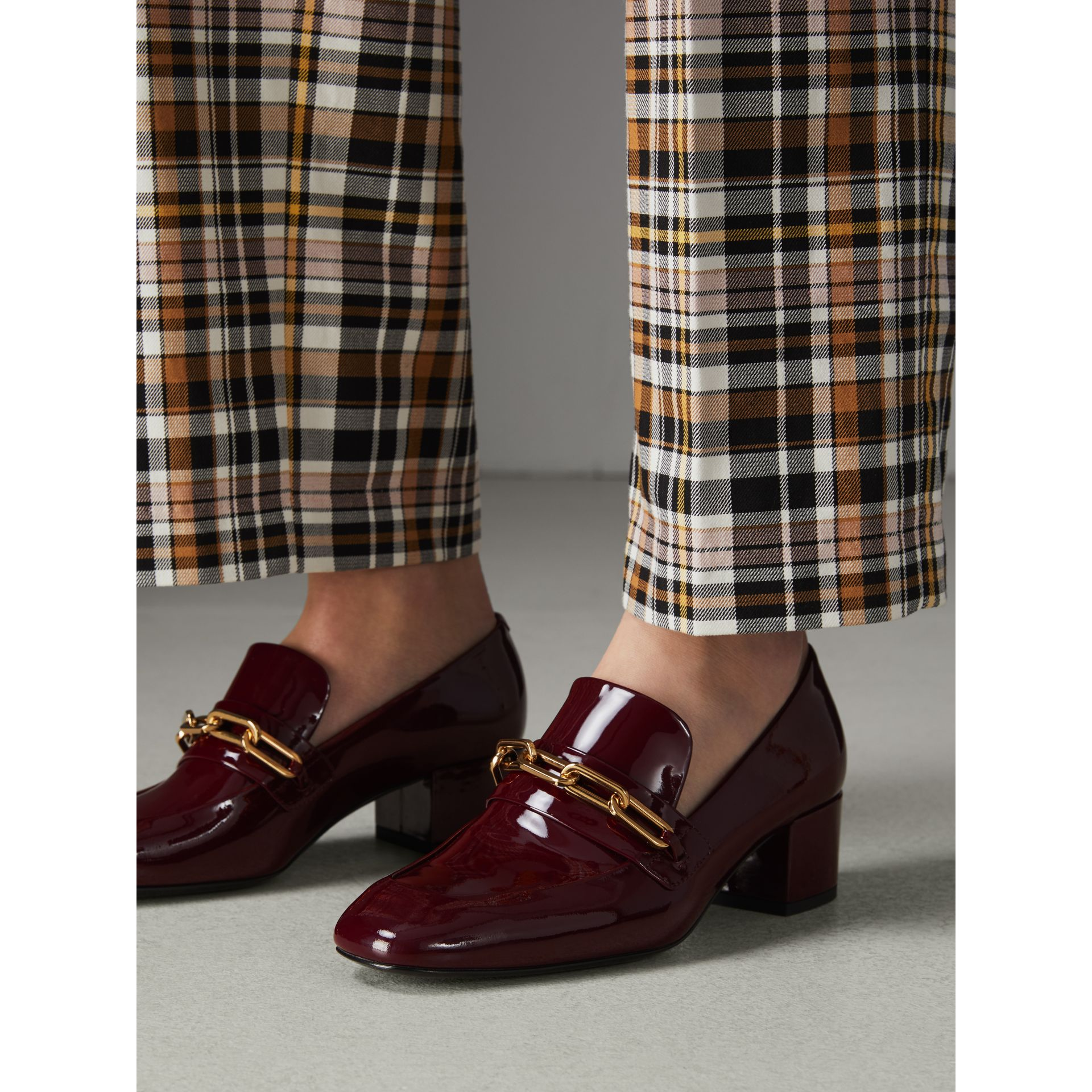 Link Detail Patent Leather Block-heel Loafers in Burgundy Red - Women | Burberry Canada - gallery image 2