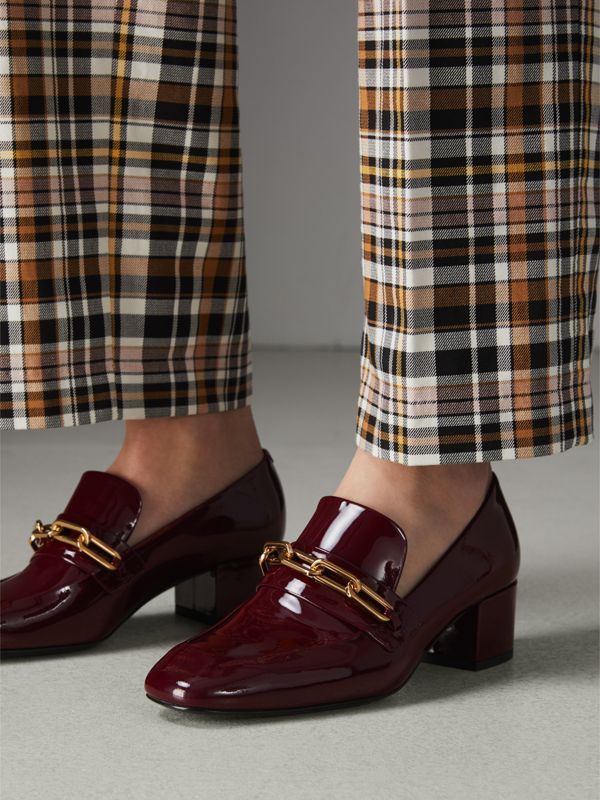 Link Detail Patent Leather Block-heel Loafers in Burgundy Red - Women | Burberry - cell image 2