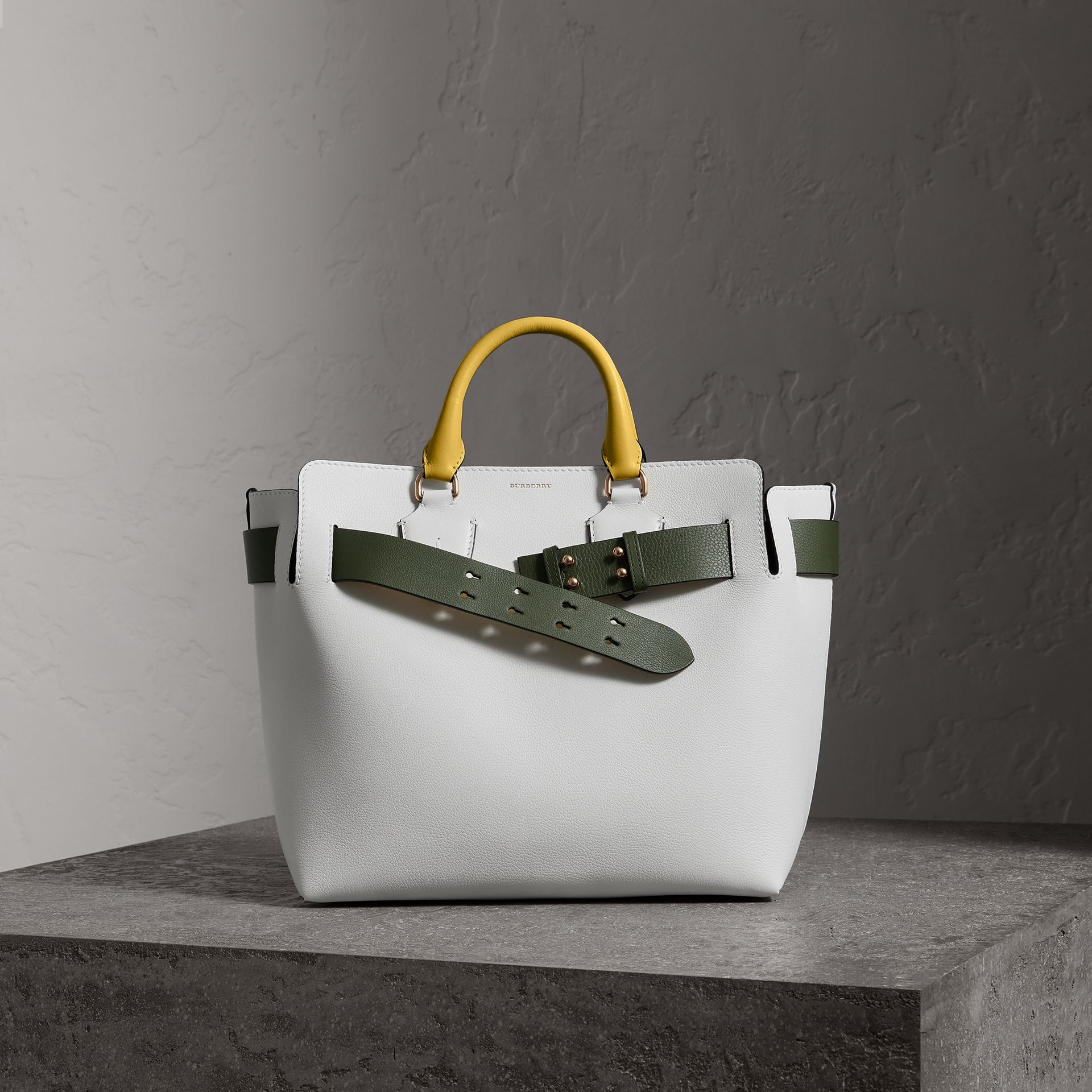 The Medium Leather Belt Bag in Chalk White/yellow - Women | Burberry - gallery image 0