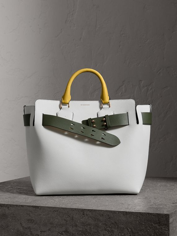 The Medium Leather Belt Bag in Chalk White/yellow