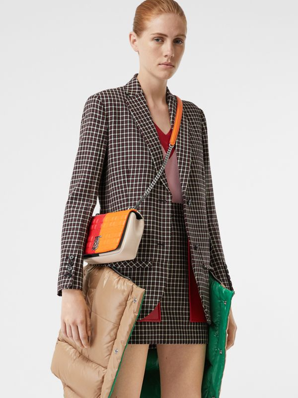 Small Quilted Colour Block Lambskin Lola Bag in Bright Red/orange - Women | Burberry United Kingdom - cell image 3