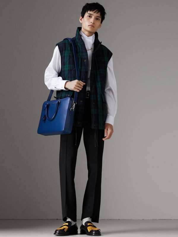 London Leather Briefcase in Deep Blue - Men | Burberry United Kingdom - cell image 2