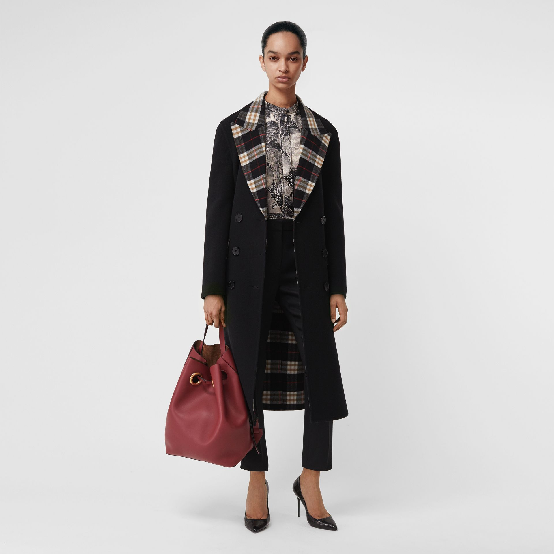 Check-lined Wool Cashmere Double-breasted Coat in Black - Women | Burberry Singapore - gallery image 0