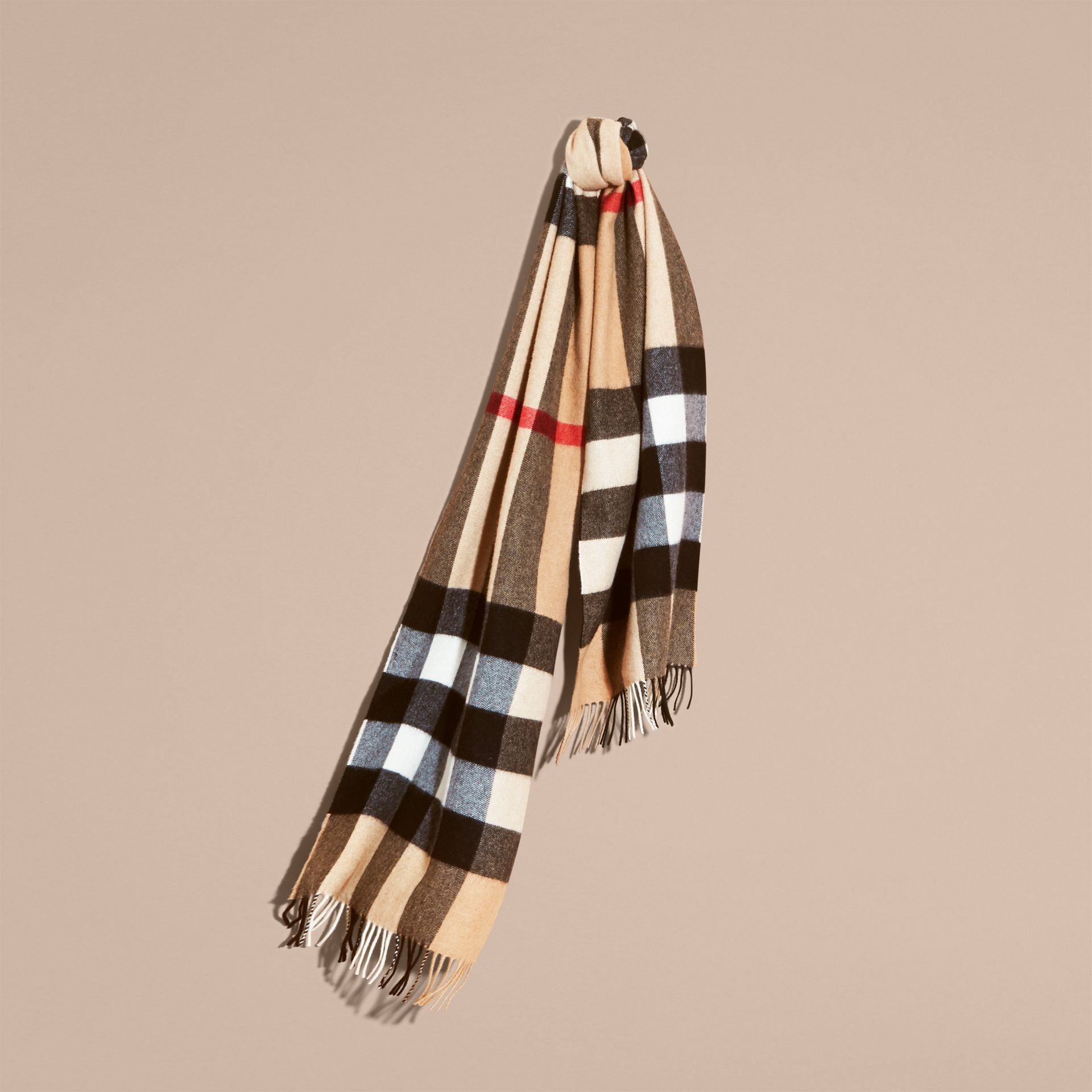 The Large Classic Cashmere Scarf in Check in Camel - gallery image 6