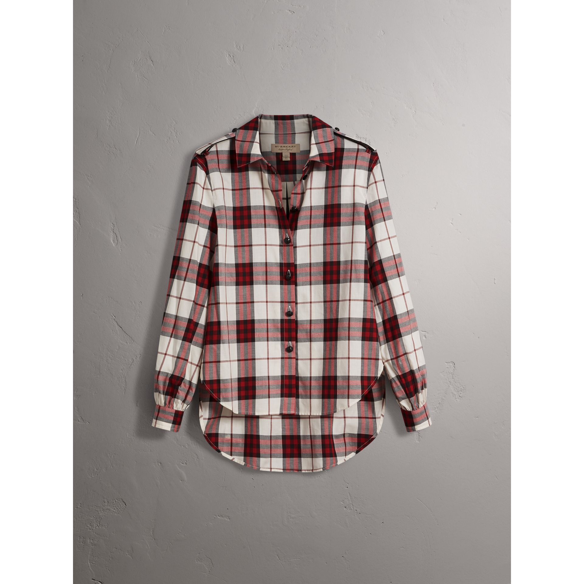 Check Cotton Flannel Military Shirt in Crimson Red - Women | Burberry Canada - gallery image 4