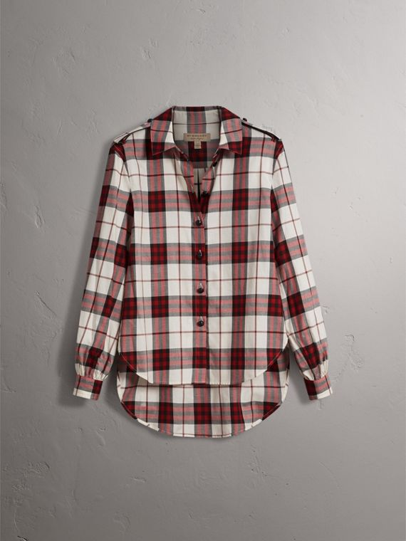 Check Cotton Flannel Military Shirt in Crimson Red - Women | Burberry Canada - cell image 3