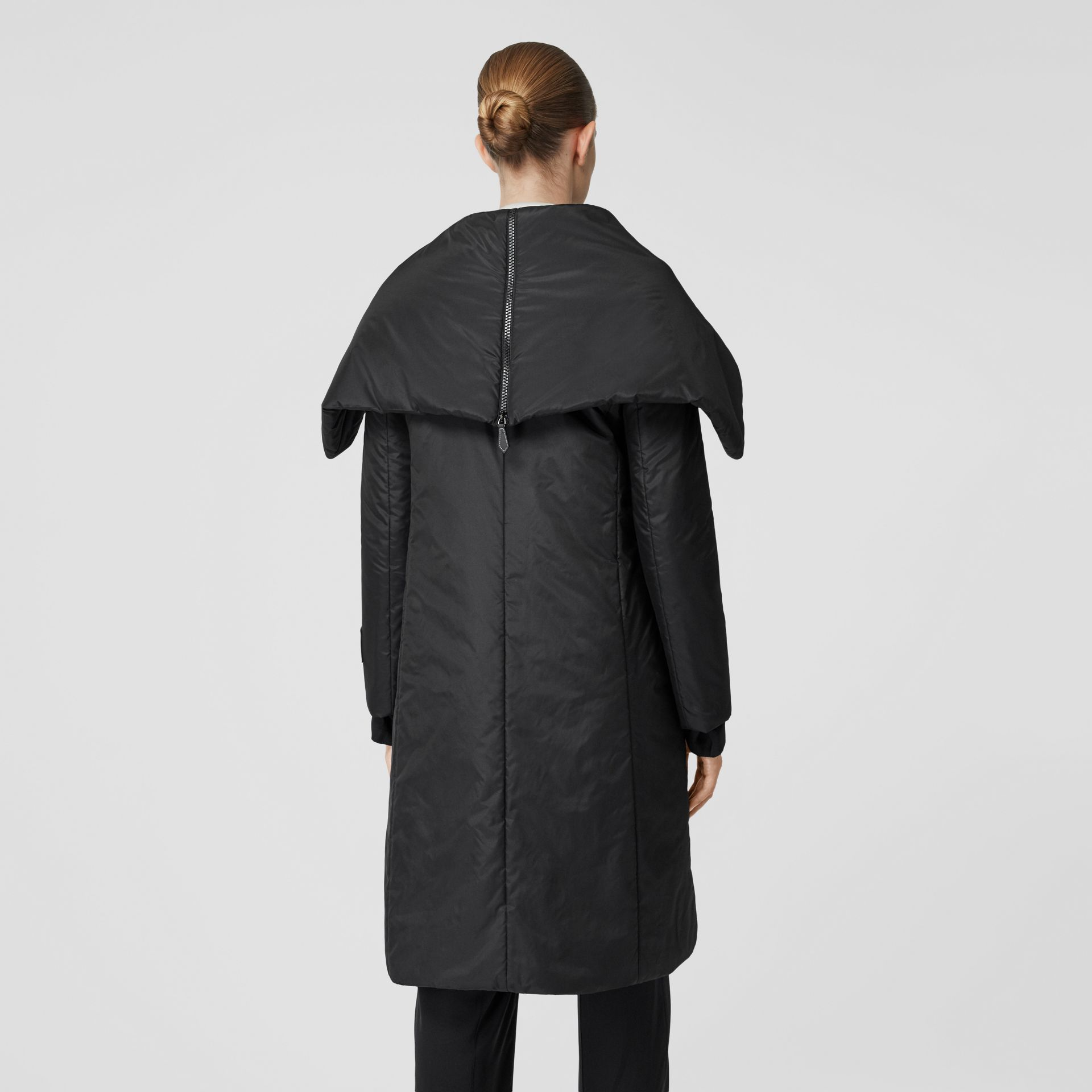 Cape Detail Silk Blend Wrap Coat in Black - Women | Burberry Singapore - gallery image 2