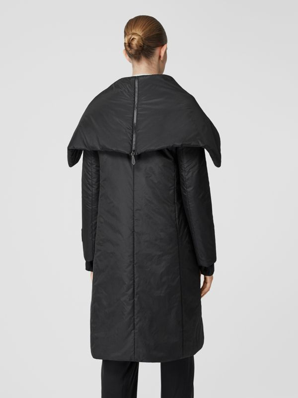 Cape Detail Silk Blend Wrap Coat in Black - Women | Burberry - cell image 2