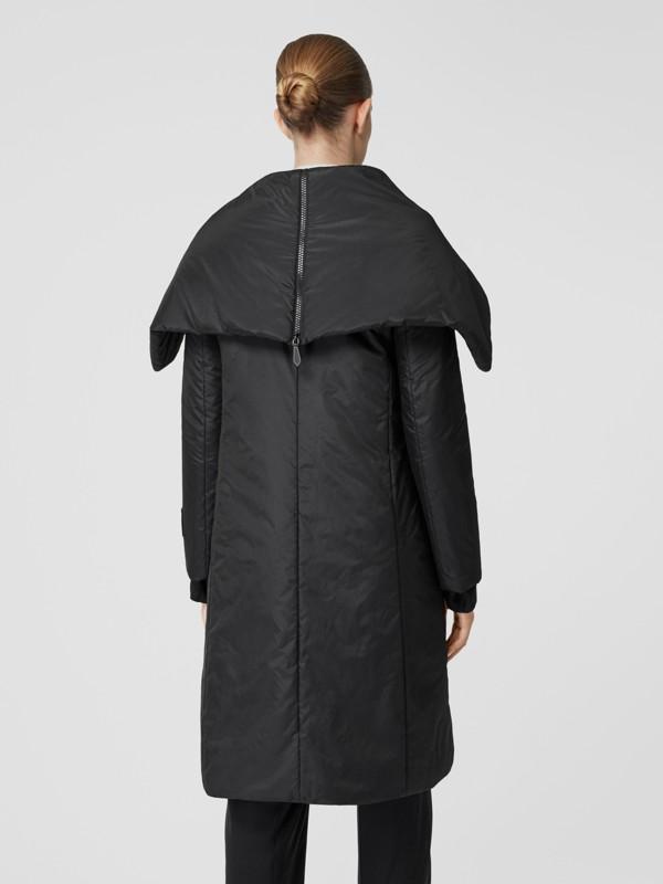 Cape Detail Silk Blend Wrap Coat in Black - Women | Burberry Singapore - cell image 2