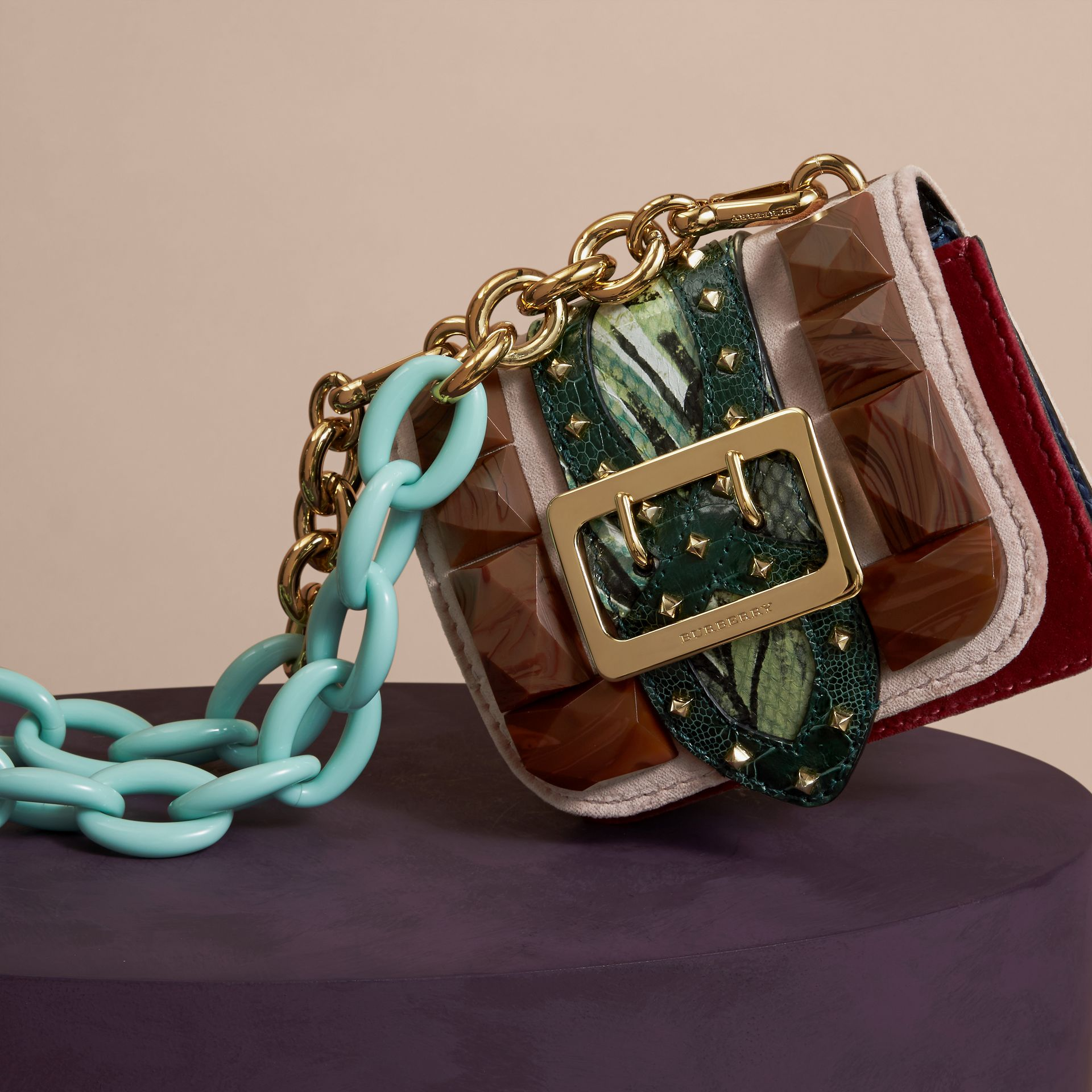 Ash rose The Mini Square Buckle Bag in Velvet and Floral Print Snakeskin - gallery image 6