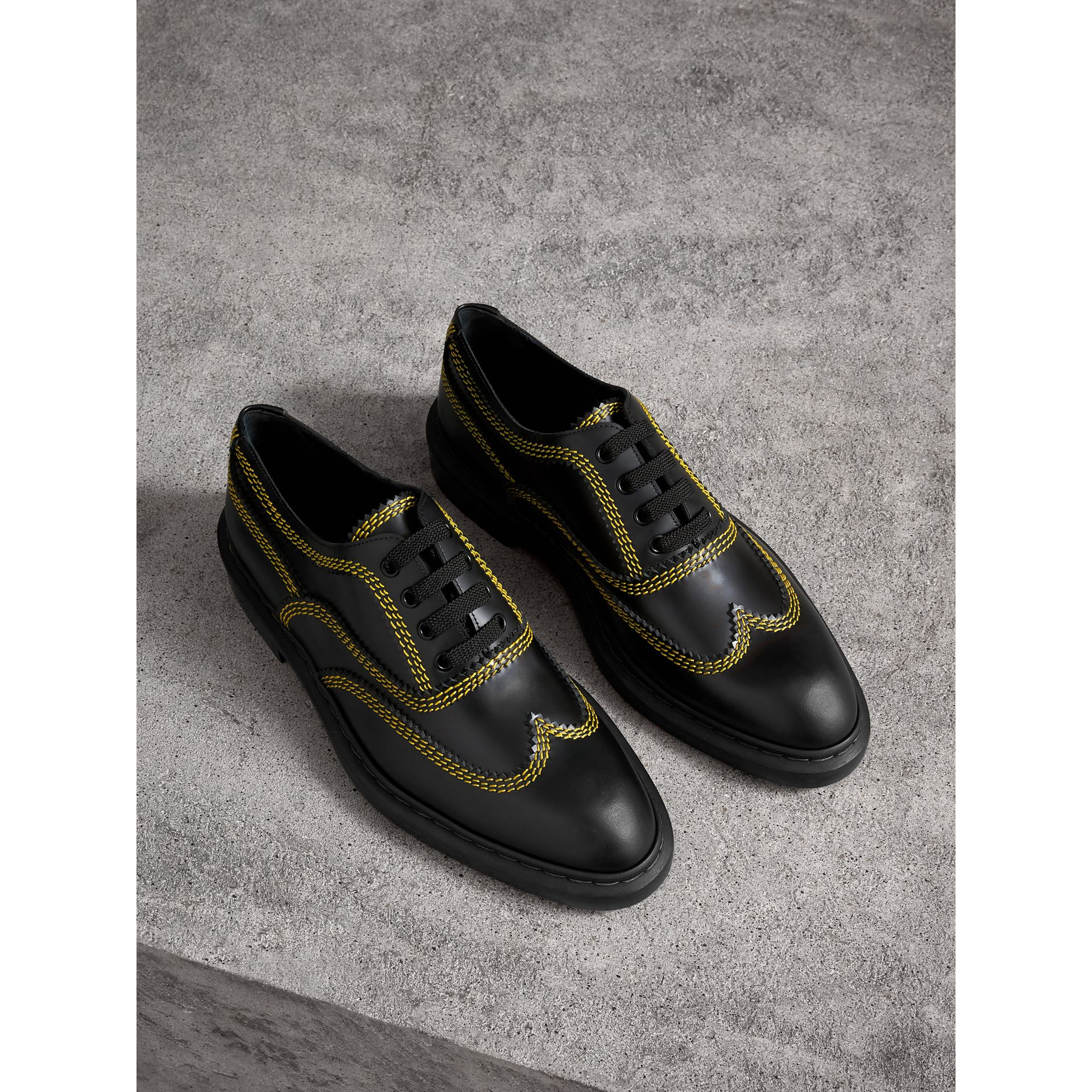 Topstitched Leather Derby Shoes in Black - Men | Burberry - gallery image 0