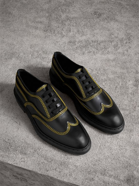 Topstitched Leather Derby Shoes in Black