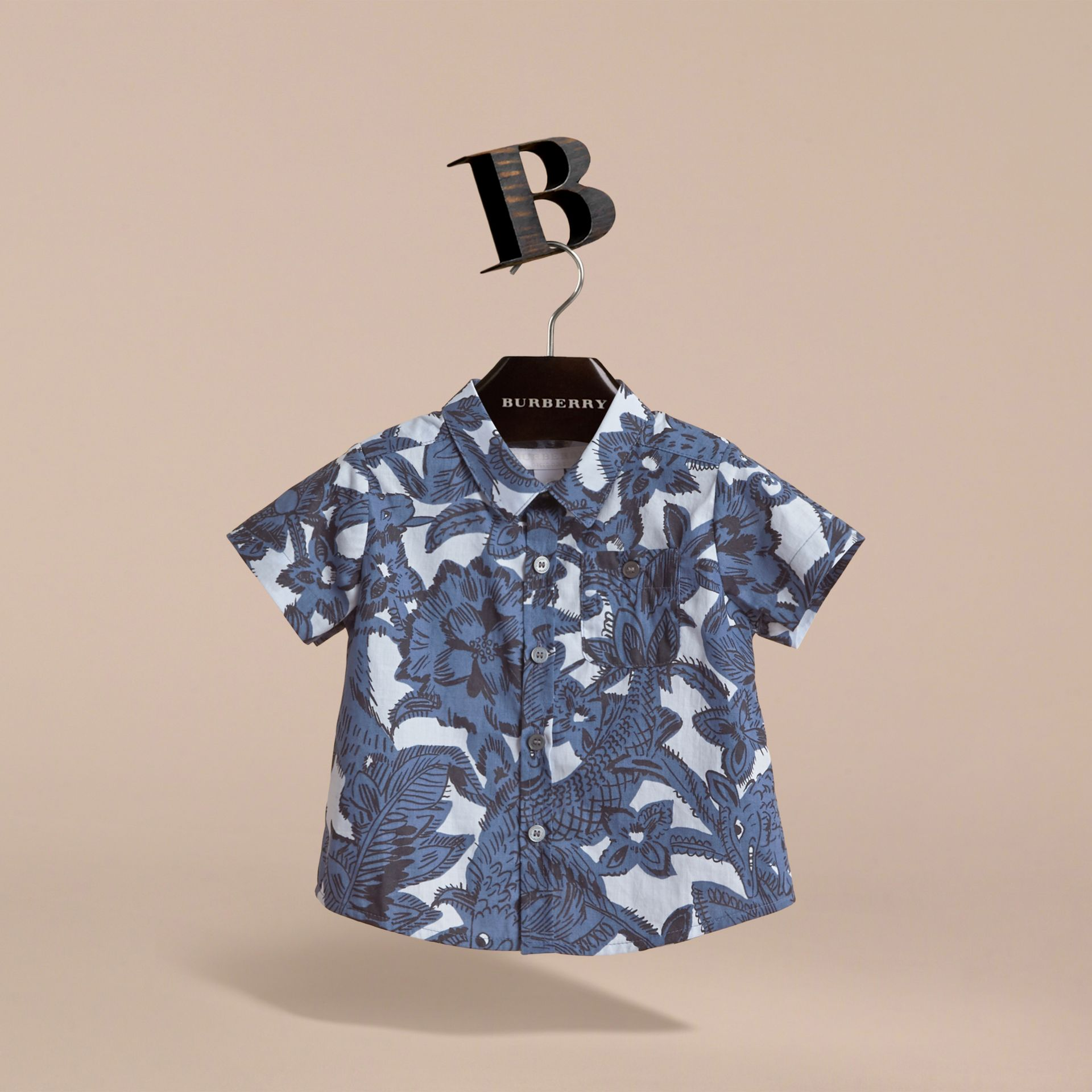 Short-sleeve Beasts Print Cotton Shirt in Stone Blue | Burberry - gallery image 3