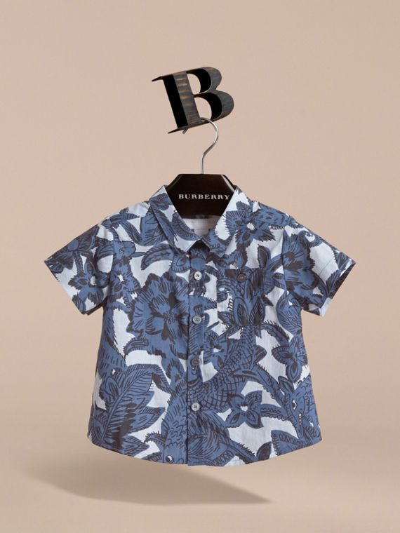 Short-sleeve Beasts Print Cotton Shirt in Stone Blue | Burberry - cell image 2