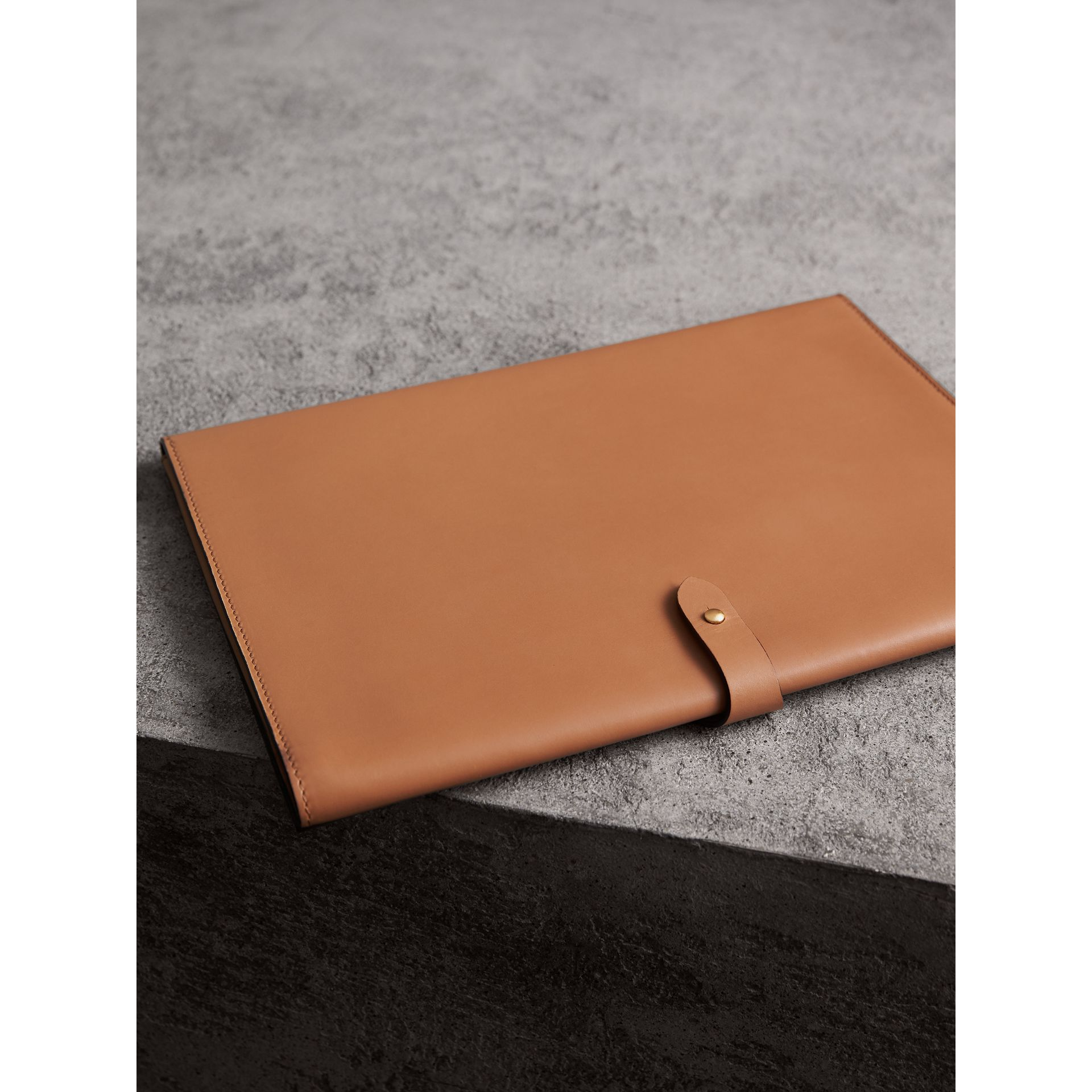 Equestrian Shield Two-tone Leather A4 Document Case in Camel - Men | Burberry United States - gallery image 2