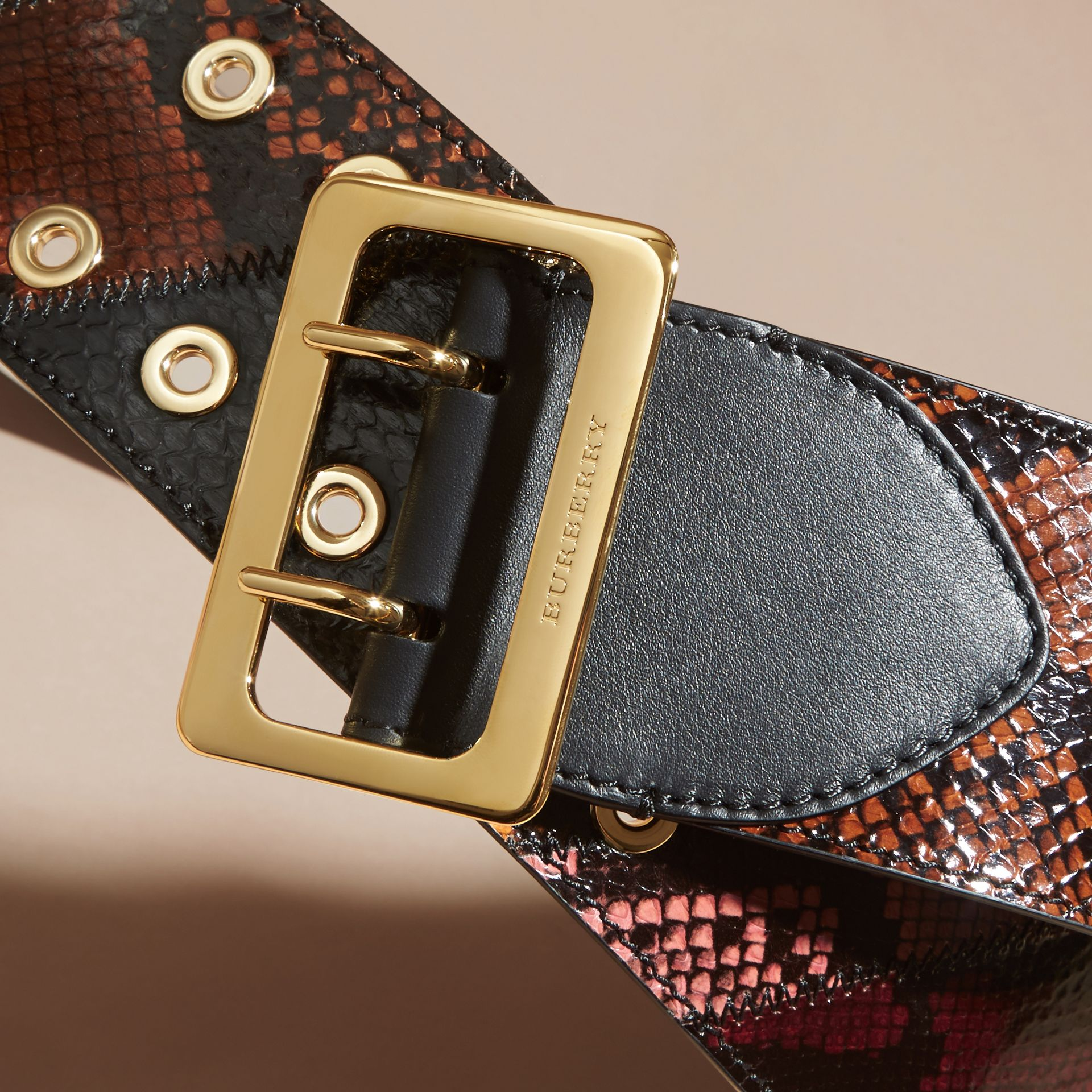 Snakeskin Intarsia Waist Belt in Peony - Women | Burberry - gallery image 2