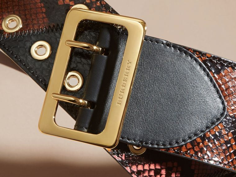 Snakeskin Intarsia Waist Belt in Peony - Women | Burberry - cell image 1