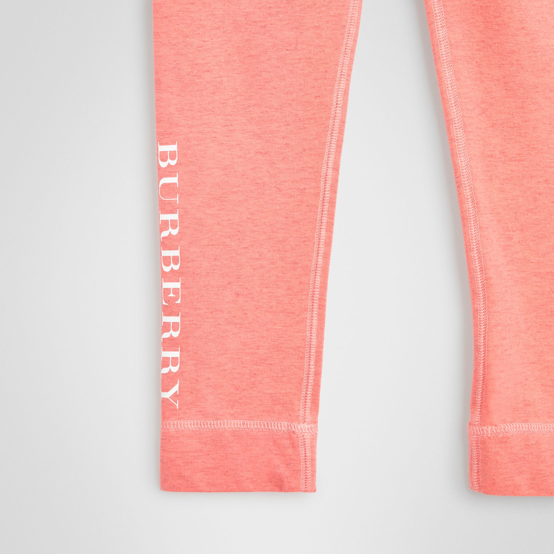 Logo Print Stretch Cotton Leggings in Pale Pink - Children | Burberry - gallery image 4