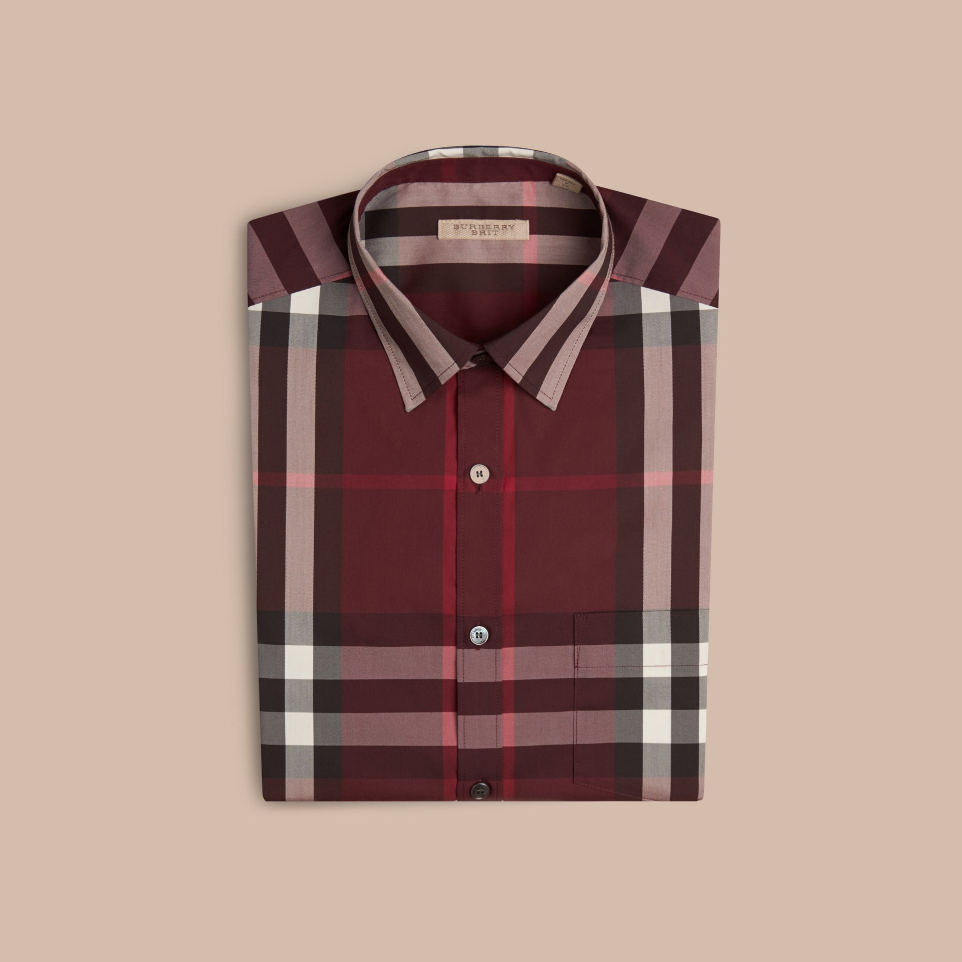 Check Stretch Cotton Shirt Claret - gallery image 4