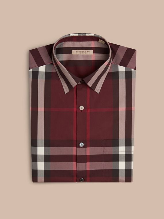 Check Stretch Cotton Shirt Claret - cell image 3