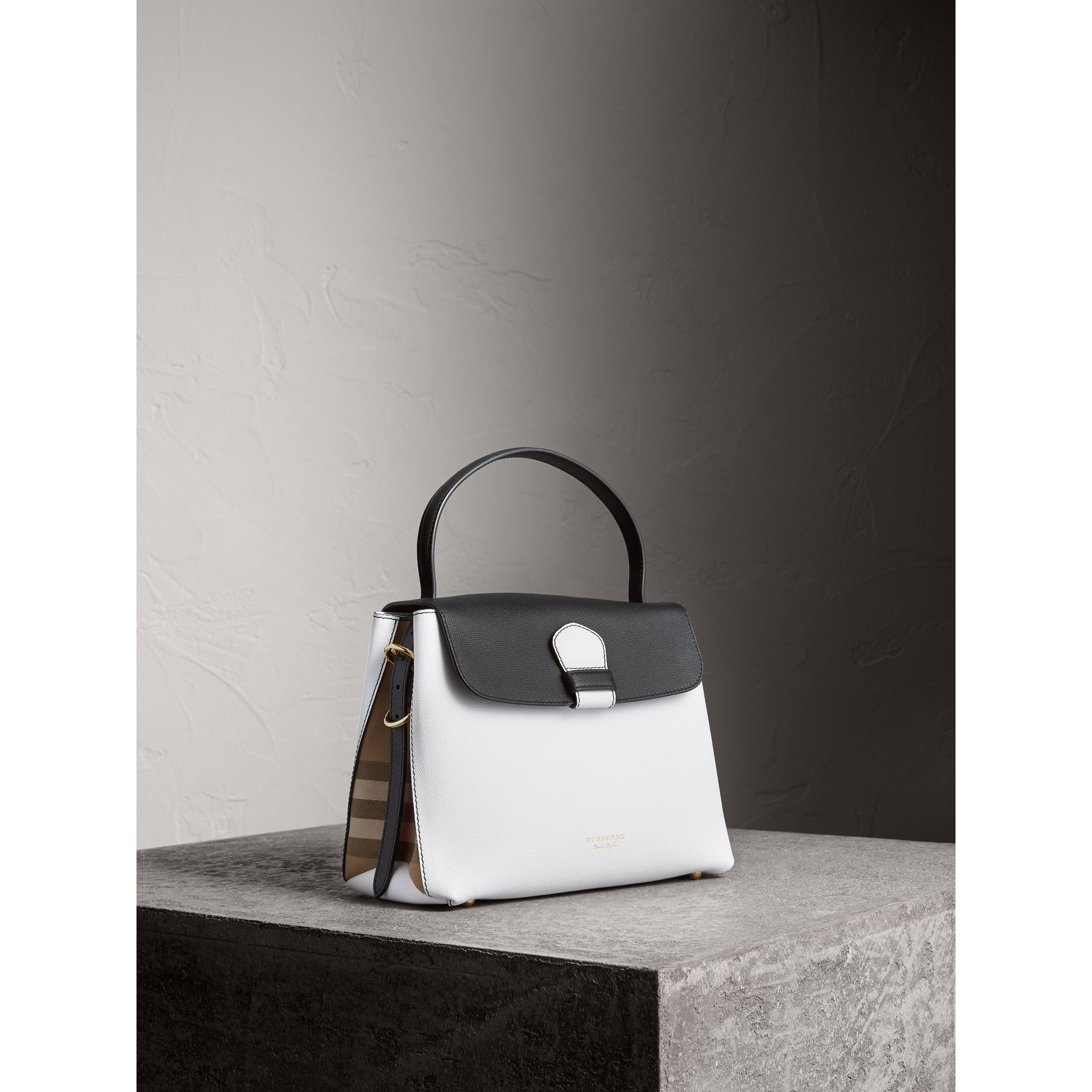Medium Two-tone Leather and House Check Tote in Chalk White/black - Women | Burberry - gallery image 0