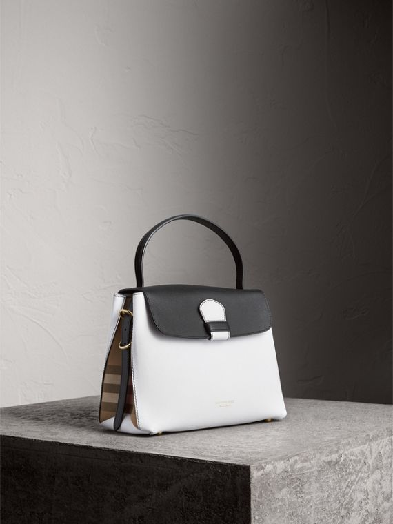 Medium Two-tone Leather and House Check Tote in Chalk White/black