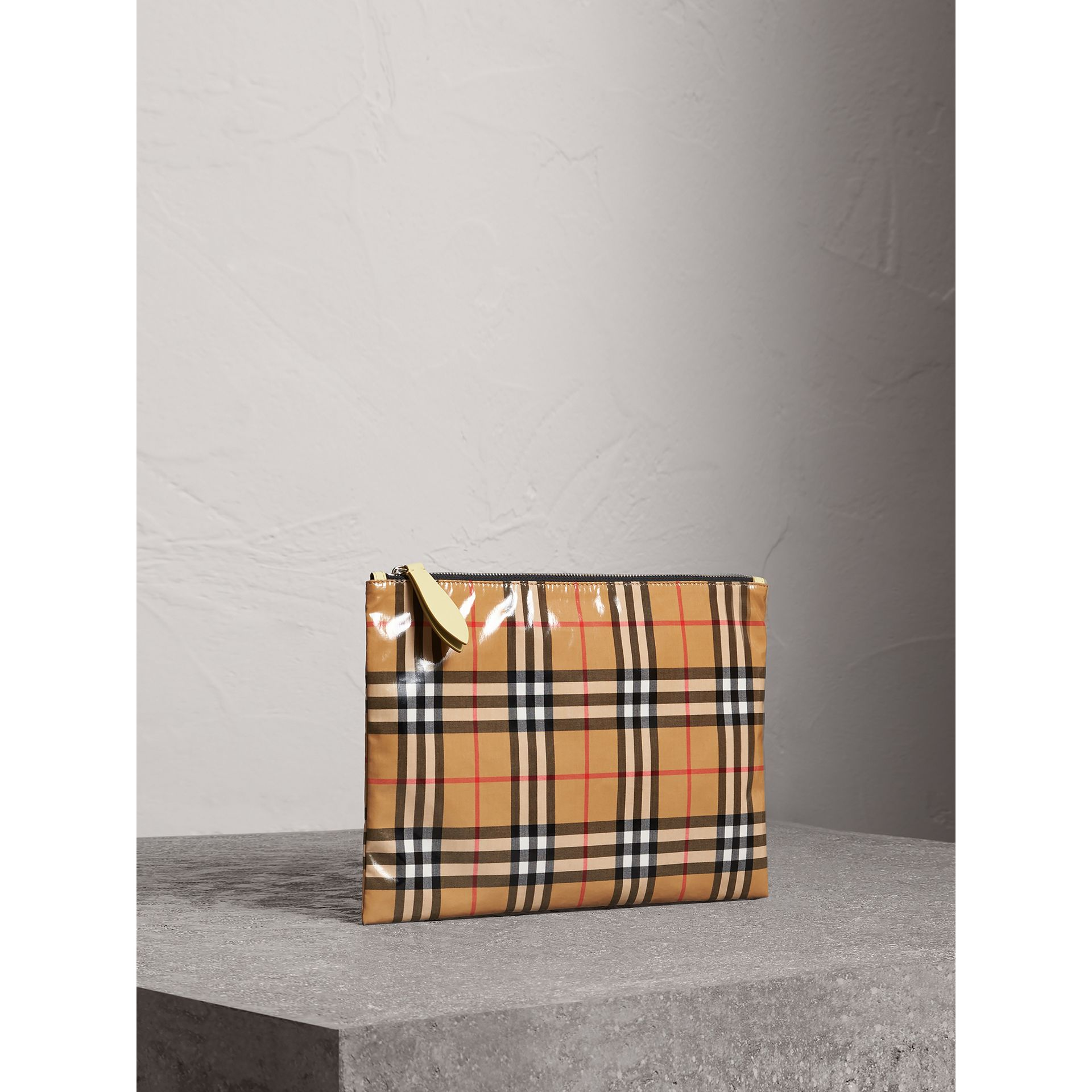 Medium Coated Vintage Check Pouch in Pale Yellow | Burberry - gallery image 8