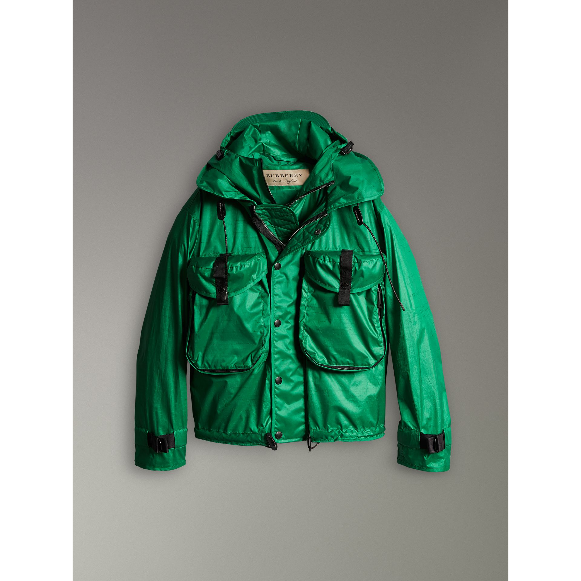 Packaway Hood Showerproof Jacket With Gilet in Vibrant Green - Men | Burberry - gallery image 3