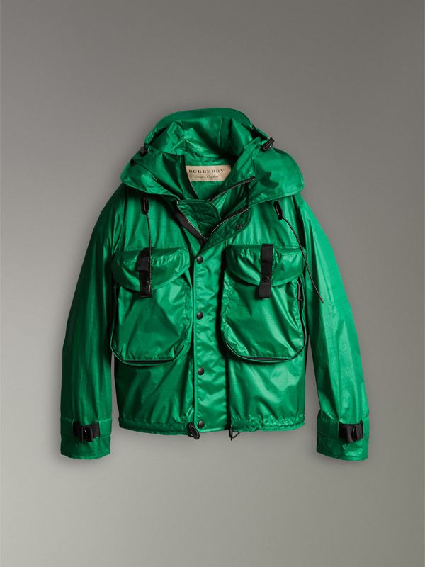 Packaway Hood Showerproof Jacket With Gilet in Vibrant Green - Men | Burberry Singapore - cell image 3