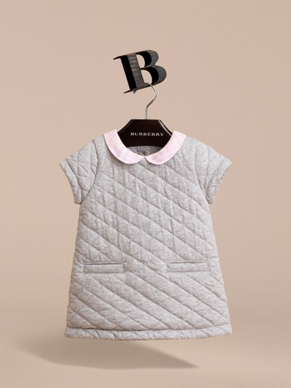 Check Collar Quilted Cotton A-line Dress in Grey Melange | Burberry - cell image 2