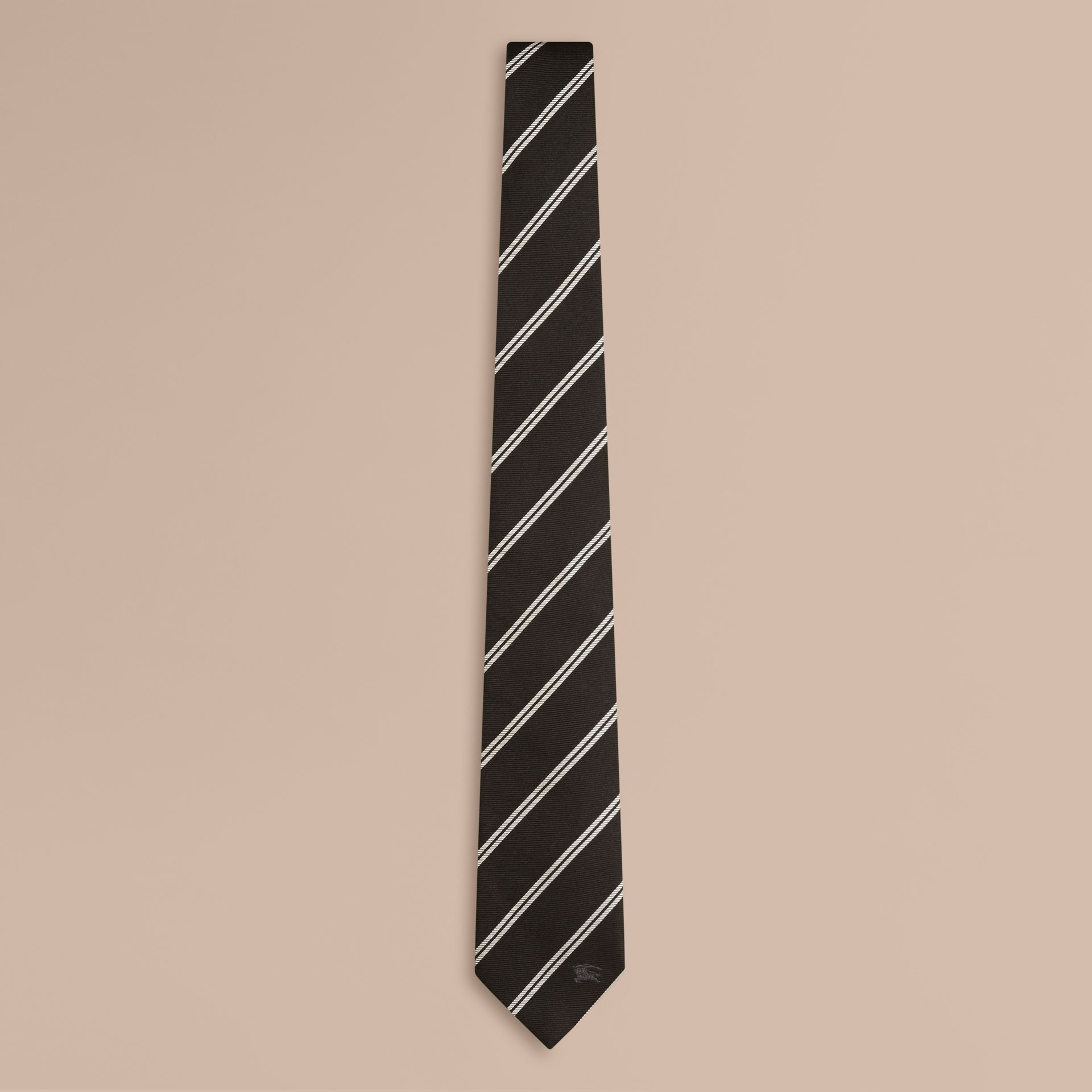 Black Modern Cut Striped Silk Tie Black - gallery image 1