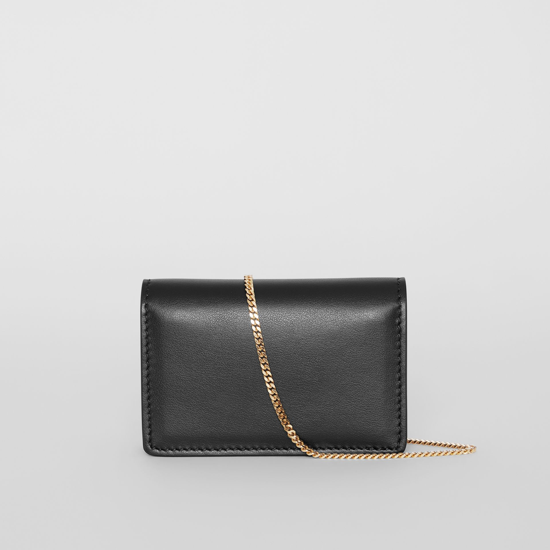 Leather Card Case with Detachable Strap in Black - Women | Burberry - gallery image 7