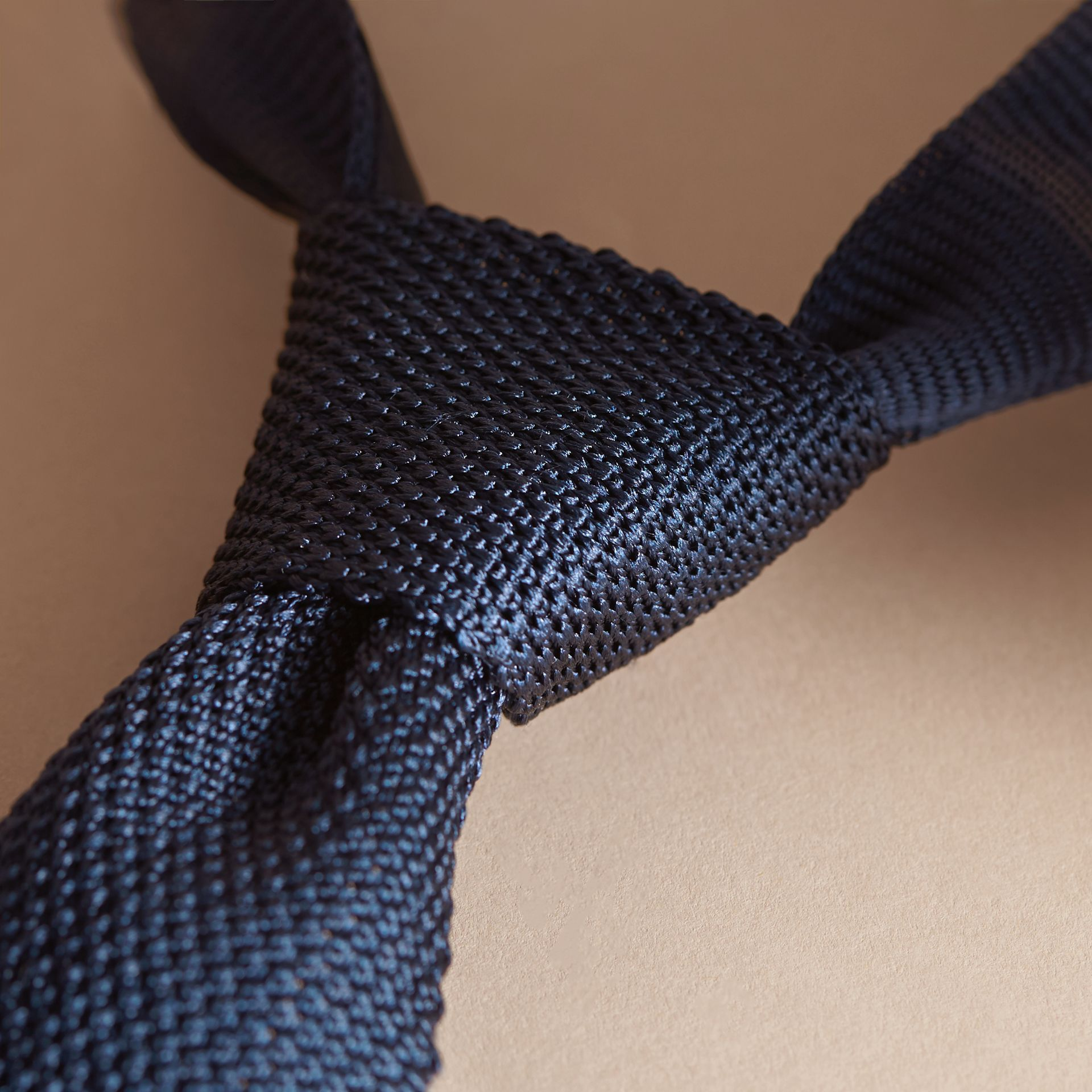 Slim Cut Knitted Silk Tie in Navy - gallery image 2