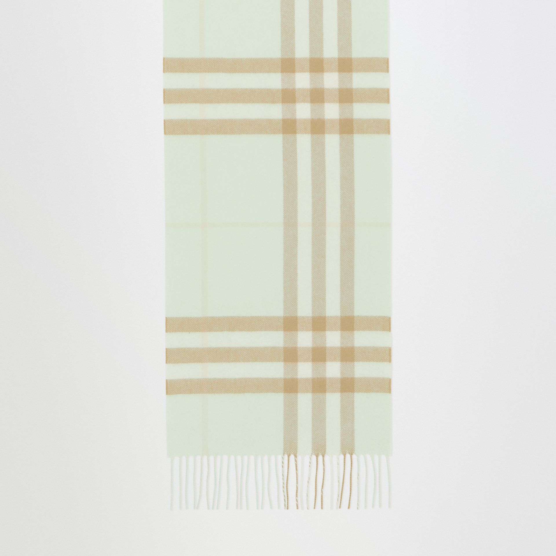 The Classic Check Cashmere Scarf in Pistachio | Burberry Singapore - gallery image 4