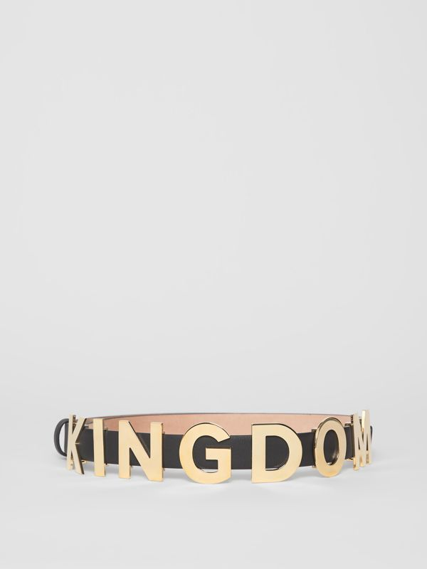 Kingdom Motif Leather Belt in Black/light Gold - Women | Burberry Canada - cell image 3