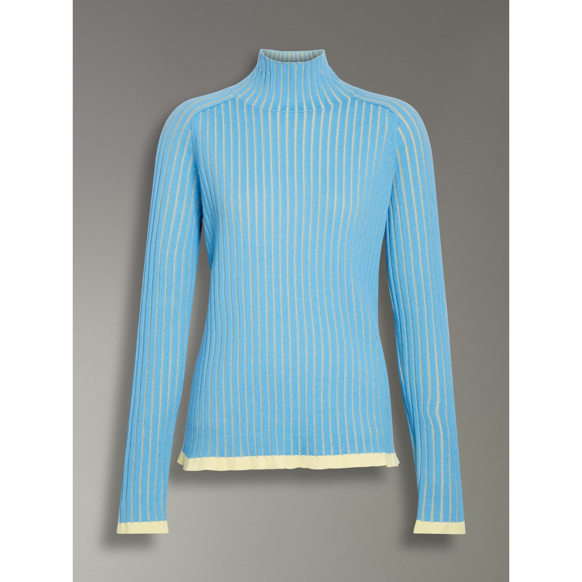Silk Cashmere Turtleneck Sweater in Pale Blue - Women | Burberry United Kingdom - gallery image 3